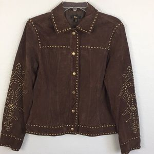 Reba NWT studded suede leather jacket